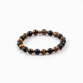 Bracelet élastique onyx et oeil de tigre