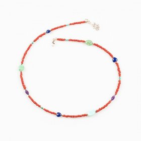Collier corail, turquoise, lapis-lazuli, chrysoprase, améthyste