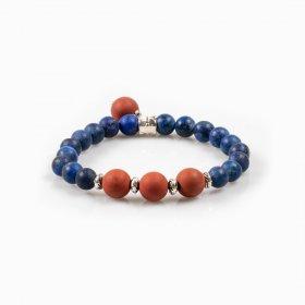 Bracelet élastique lapis-lazuli et jaspe rouge