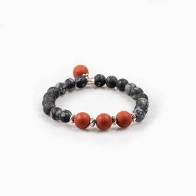 Bracelet élastique jaspe rouge et obsidienne flocons de neige
