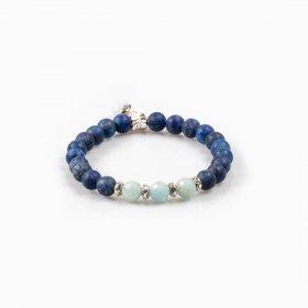 Bracelet élastique lapis-lazuli et aigue-marine