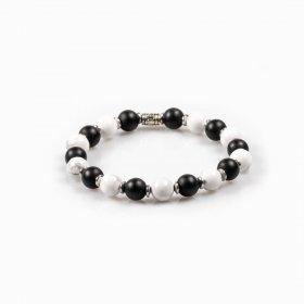 Bracelet élastique onyx et howlite