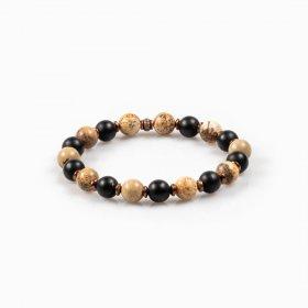 Bracelet élastique jaspe paysage, onyx mat, hématite