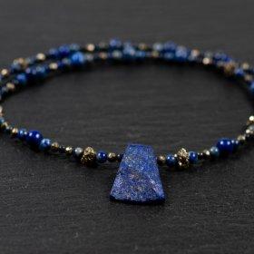 Collier homme lapis-lazuli et pyrite